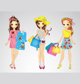 Fashion Girl Friends Do Shopping vector image
