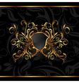 golden ornate frame with shield vector image