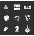 nine flat game icons vector image