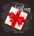 realistic christmas gift on top view with hand vector image