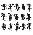 silhouettes of happy excited jumping students vector image