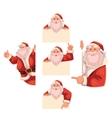 Set of Santa Claus holding a sign giving thumbs vector image