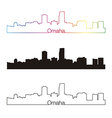 Omaha skyline linear style with rainbow vector image