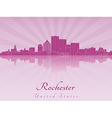 Rochester skyline in purple radiant orchid vector image