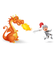 Cartoon of a knight running from a fierce dragon vector image