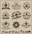 Sets of bake shop craft beer coffee shop logo vector image