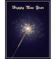 happy new year greeting card with sparkler on dark vector image vector image