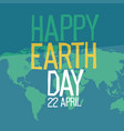 earth day poster design in flat style 22 april vector image