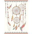 Hand drawn native american dream catcher beads vector image