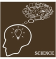 Human head and icons of science vector image