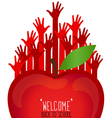 Welcome back to school with hands and apple vector image