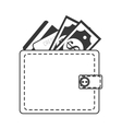 silhouette wallet money bills isolated vector image