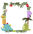 Frame with cartoon dinosaurs vector image