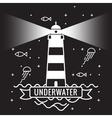 Lighthouse on black background Underwater vector image