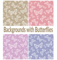 seamless patterns outline butterflies vector image vector image