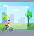 man riding bicycle in city park colorful banner vector image