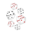Set of casino white dice falling down vector image