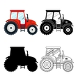 Set of flat red black thin line tractors on the vector image