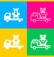 truck with bear four styles of icon on four color vector image