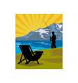 Fly fisherman fishing lake mountains chair vector image