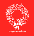 Handwritten Christmas wreath card Word Cloud desig vector image vector image