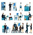 Office Workers Flat Set vector image vector image