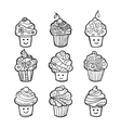 Set of monochrome sweet cupcakes isolated on white vector image