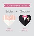 Bride and Groom heart themed wedding card vector image