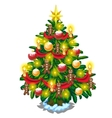 Christmas tree with balls candles and gingerbread vector image