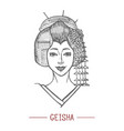 geisha in hand drawn style vector image