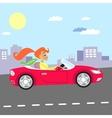 girl in car vector image