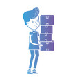 line delivery man with boxes packages vector image
