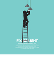 Person On Stepladder Change Ceiling Light vector image