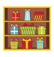 set flat cartoon shelf witn gifts vector image
