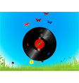 Vinyl record and butterflies background vector image