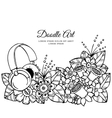 floral frame Doodle drawing vector image vector image