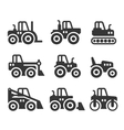Tractors Farm and Buildings Machines Icons Set vector image