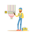electrician testing electrical equipment vector image
