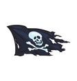cartoon skull and cross bones flag isolated vector image