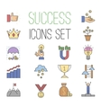 Business success icons set isolated on vector image