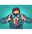 Businessman looking through binoculars Lead vector image
