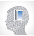 Hand drawn man s face with door in his head vector image
