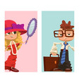 happy boy and girl cards child young kids dressed vector image