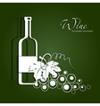 paper bottle of wine and grapes vector image