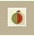 Watermelon flat stamp with long shadow vector image