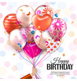 Birthday card with hand holds colorful balloons vector image