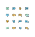 Speech bubble outline color icons for web and vector image