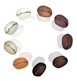 Different Coffee Beans Circle vector image