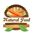 Juicy carrot label design vector image