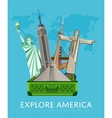 Explore America banner with famous attractions vector image